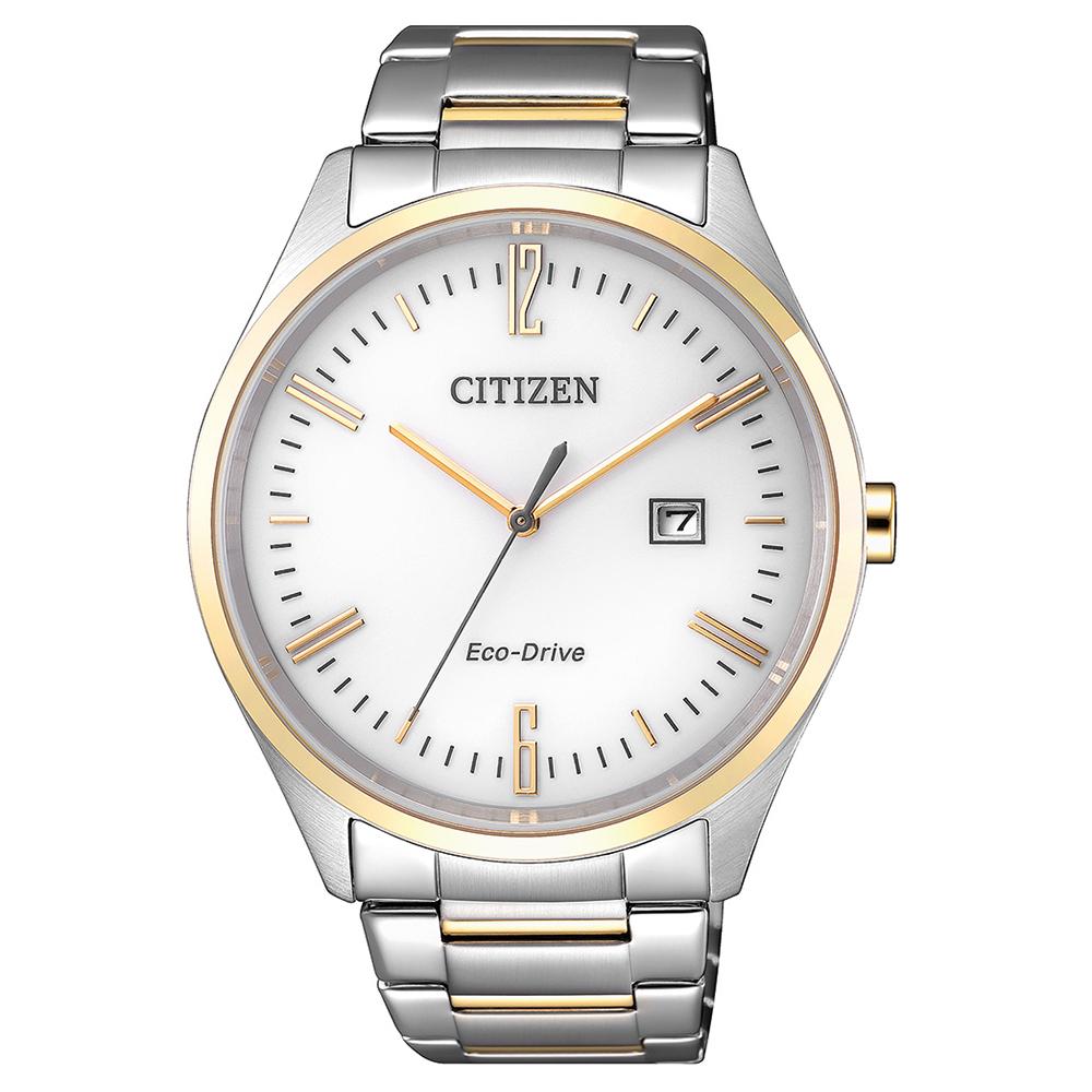 CITIZEN 英倫情人半金點綴光動能石英腕錶(BM7354-85A)-白/42mm
