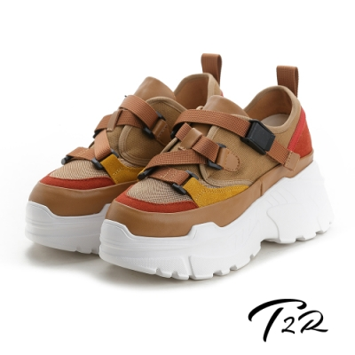 T2R-正韓空運-透氣牛皮網布隱形內增高厚底老爹鞋-增高9公分-卡其