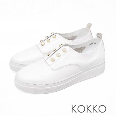 KOKKO 小香風牛皮珍珠厚底懶人休閒鞋椰奶白