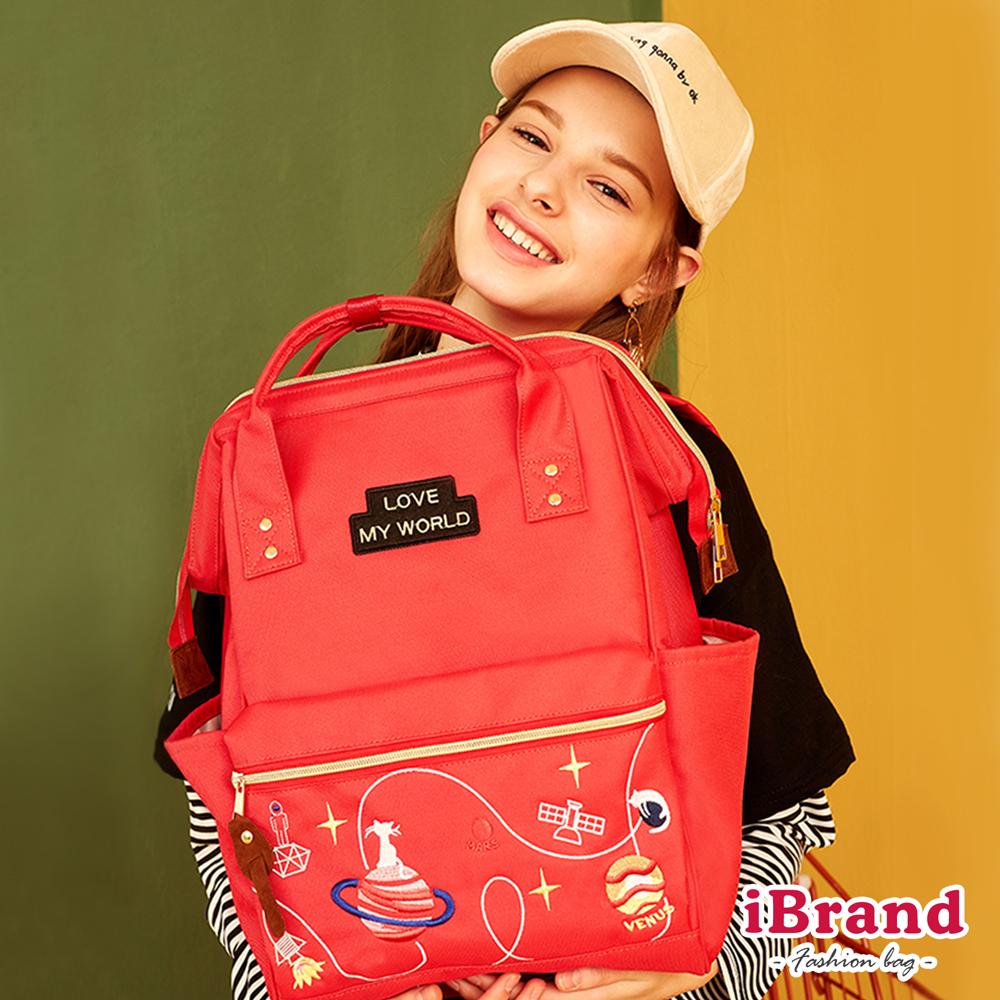 iBrand後背包 喵星球系列素色大開口後背包-紅色