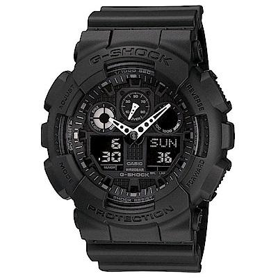 G-SHOCK 個性重型機械感Man運動錶(GA-100-1A1)-黑/55mm