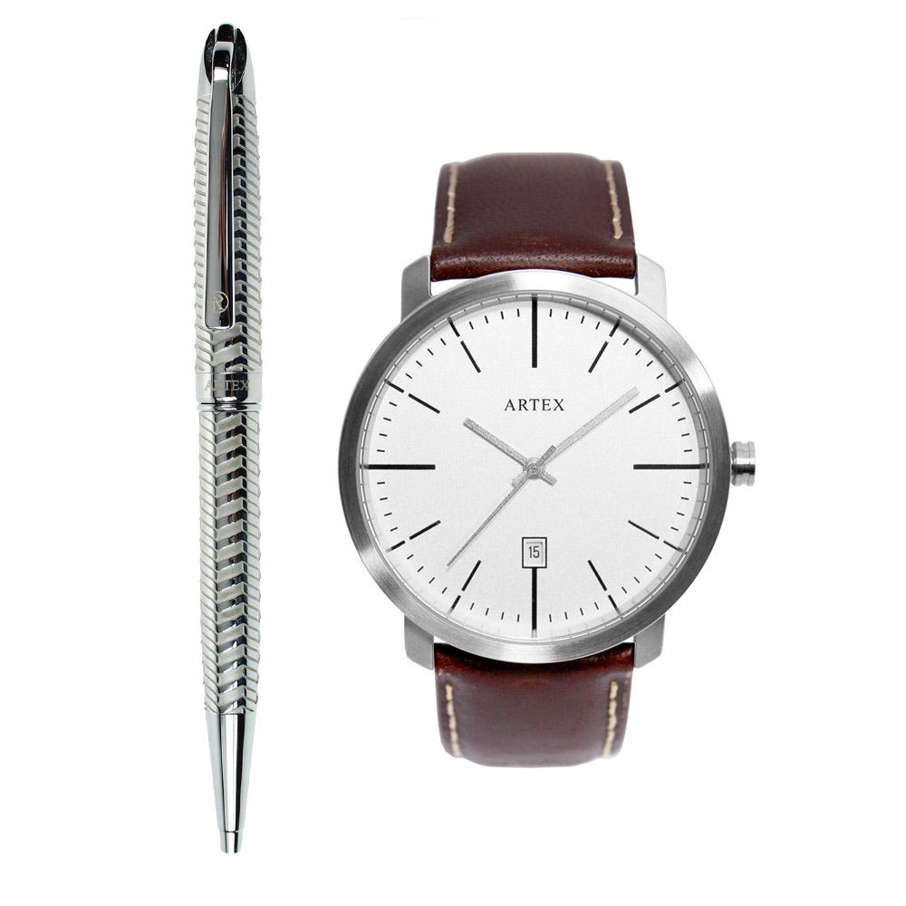 ARTEX 雅爵原子筆-銀色琴鍵+5936真皮手錶-褐色/霧銀42mm 有日期窗