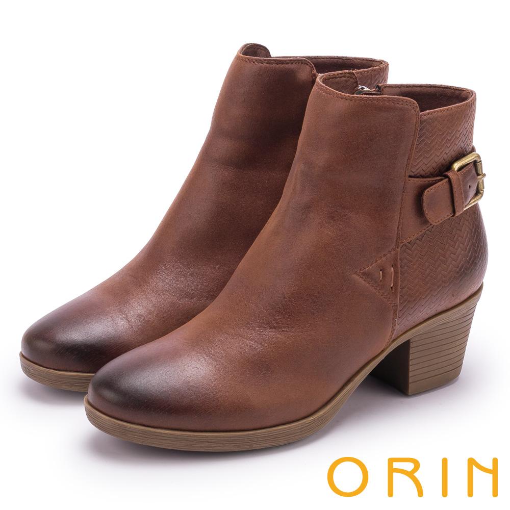 ORIN 流行個性元素 質感鋸齒波紋粗跟短靴-咖啡