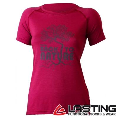 【LASTING捷克】女款羊毛抗菌除臭透氣舒適輕薄短袖T恤LT-BACK桃紅/休閒旅遊/登山露營穿搭皆宜