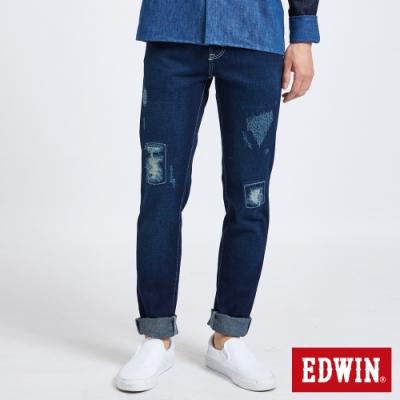 EDWIN 503 大尺碼 重加工 窄直筒牛仔褲-男-中古藍