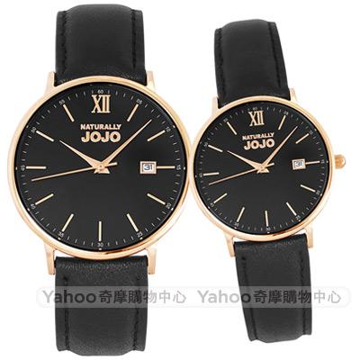 NATURALLY JOJO簡約真皮手錶男女對錶-黑X玫瑰金框/35/41mm