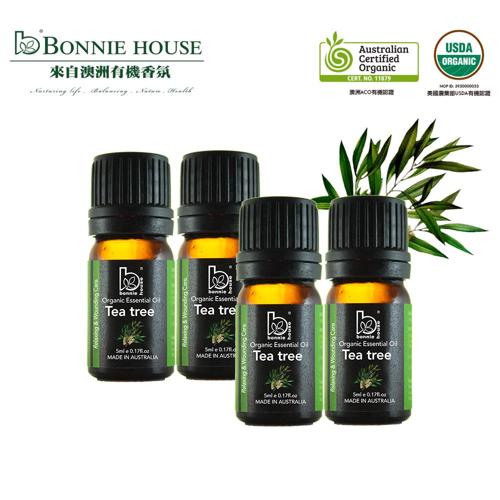Bonnie House 雙有機認證茶樹精油*4