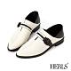 HERLS樂福鞋-全真皮兩穿撞色橫帶造型拼接樂福鞋-白色 product thumbnail 1