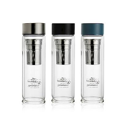 WOKY 專利蘇格拉底雙層玻璃瓶480ml附不鏽鋼濾網(3色可選)