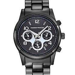 HANNAH MARTIN 絢麗盛世裝飾三眼腕錶-黑x38mm(HM-1038-H)