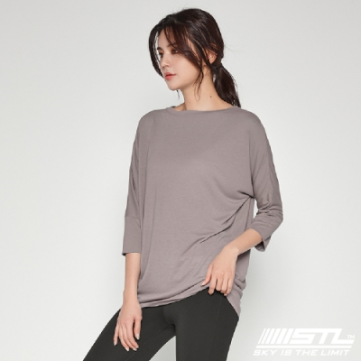 STL yoga Daily Modal Box T-Shirt 韓國瑜珈 運動機能 莫代爾7分袖素色上衣 燕麥拿鐵DolceLatte