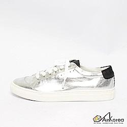 【AIRKOREA韓國空運】真皮正韓拼接配色綁帶微增高休閒鞋-銀