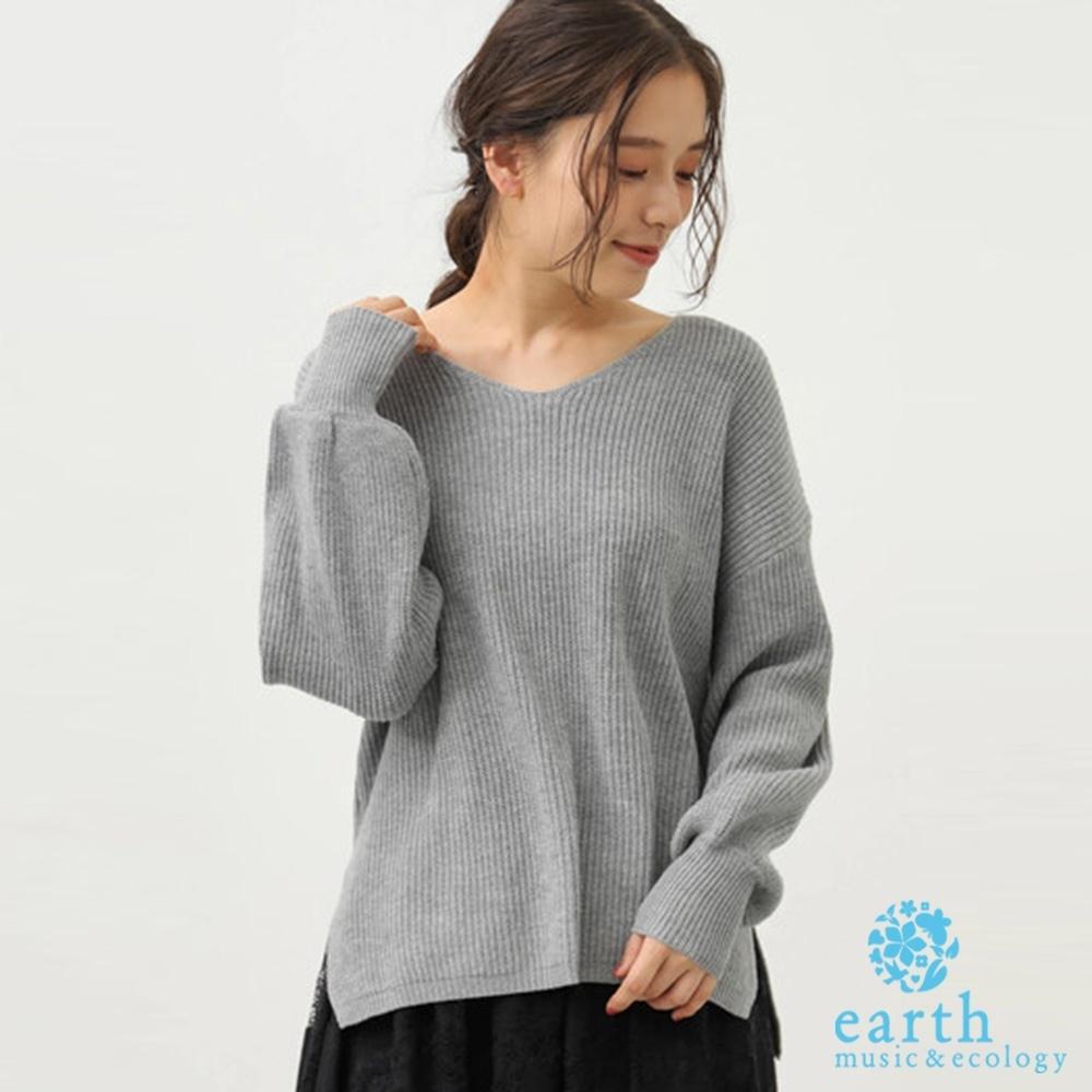 earth music V領針織開叉設計上衣