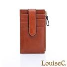 LouiseC. 植鞣牛皮 多層釦式 卡片夾/零錢包-經典棕 WI1102-03