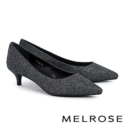 高跟鞋 MELROSE 摩登時髦金色鉚釘金蔥尖頭高跟鞋-灰