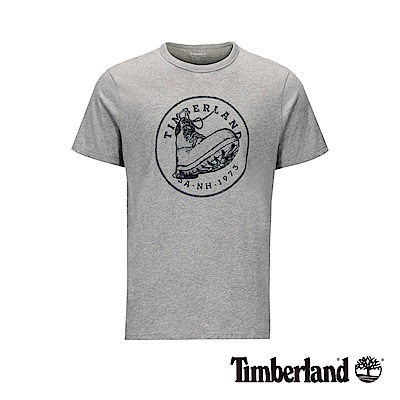 Timberland 男款中麻灰美式風格靴子寬版短袖T恤|A21AJ
