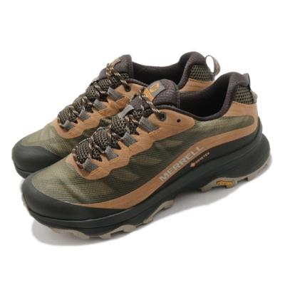 Merrell 戶外鞋 Moab Speed GTX 男鞋 登山 越野 耐磨 黃金大底 防水 緩衝 綠 棕 ML066773