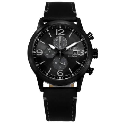 CITIZEN 光動能 三眼三針 計時碼錶 防水100米 小牛皮手錶-黑色/43mm