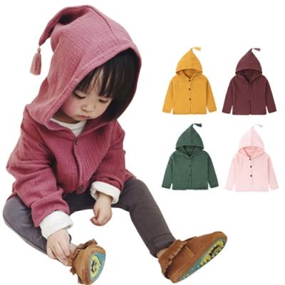 JoyNa兒童外套棉麻帶帽流蘇女童男童外套