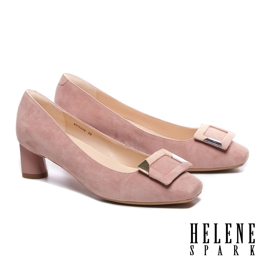 高跟鞋 HELENE SPARK 金屬拼接造型方釦羊麂皮方頭高跟鞋-粉