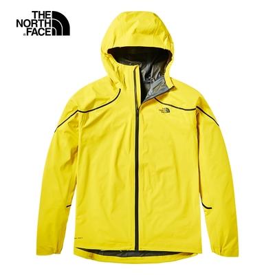 The North Face北面女款黃色防水透氣連帽衝鋒衣|3X3FDW9