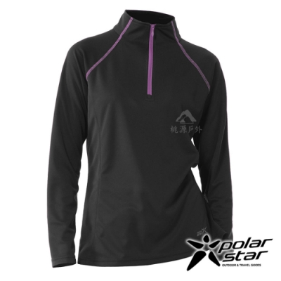 【PolarStar】女 吸排抗UV立領上衣『黑灰』P20252