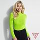 GUESS-女裝-羅紋針織長袖上衣-綠 product thumbnail 1