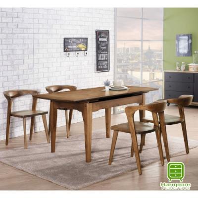 漢妮Hampton拜爾德系列全實木拉合式餐桌椅組(1桌4椅)130*80*76 cm
