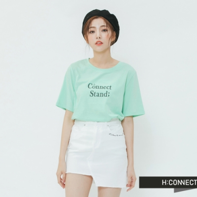 H:CONNECT 韓國品牌 女裝-正反印字清新圓領T-shirt-綠