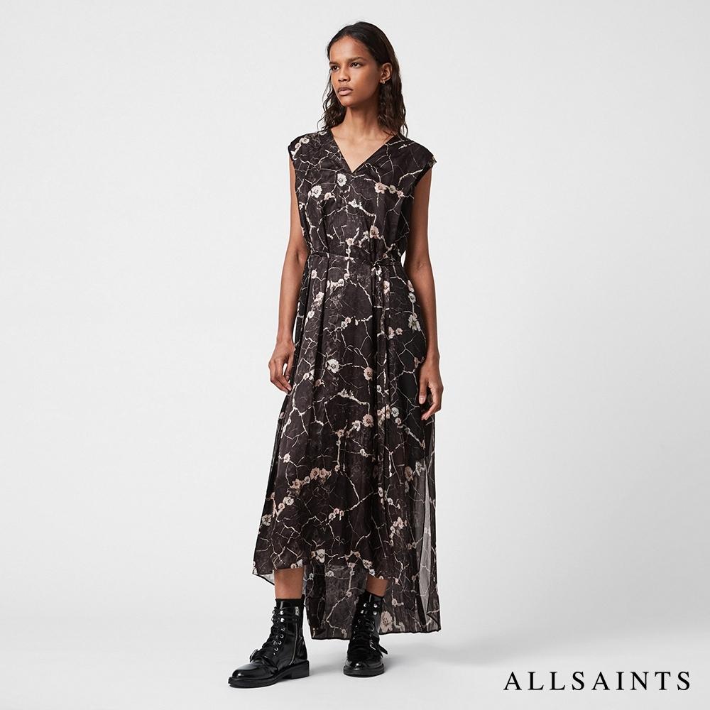 ALLSAINTS KARIAN HOPE 多變造型可拆式腰帶花朵印花中長版連身裙洋裝-黑