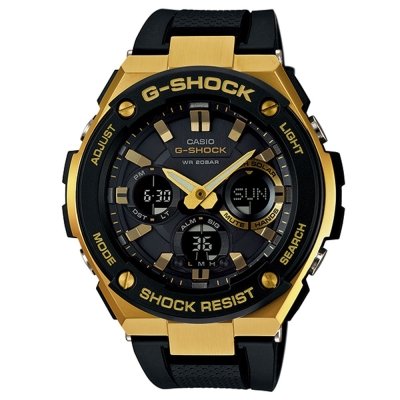 G-SHOCK絕對強悍分層防護構造防震概念休閒錶(GST-S100G-1A)-金框X黑53mm