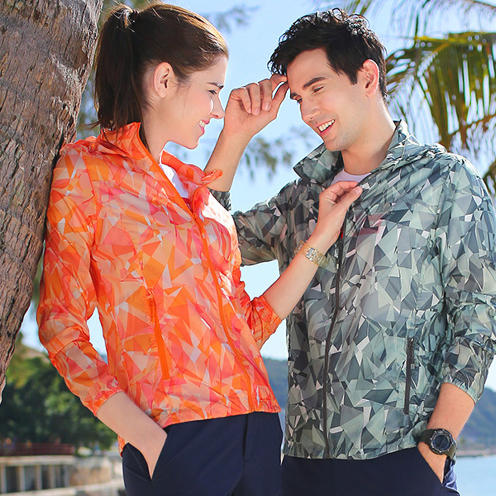 【KISSDIAMOND】時尚花彩防潑水透氣情侶防曬外套