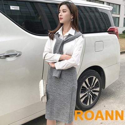 翻領拼接襯衫+素面半身裙兩件套 (白+灰色)-ROANN