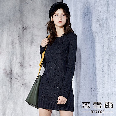 【麥雪爾】羊毛璀璨鑲鑽長版針織連身裙