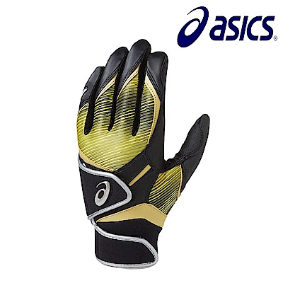 Asics 亞瑟士 打擊手套 一雙 黑黃 BEG281-9014