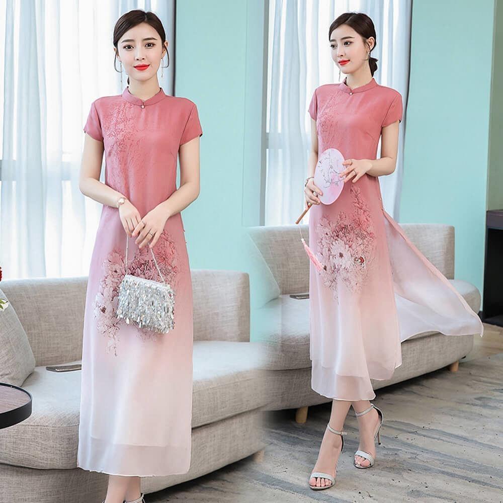 唯美旗袍領花卉粉漸層柔紗改良式中國風洋裝M-3XL-REKO