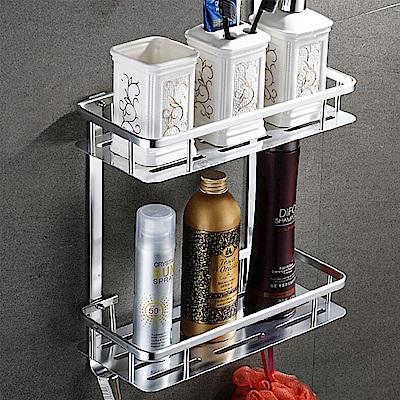 AA-24 免打孔 長方形雙層置物架帶勾 無痕免釘 多功能雙層收納架 廚房衛浴置物架 附膠