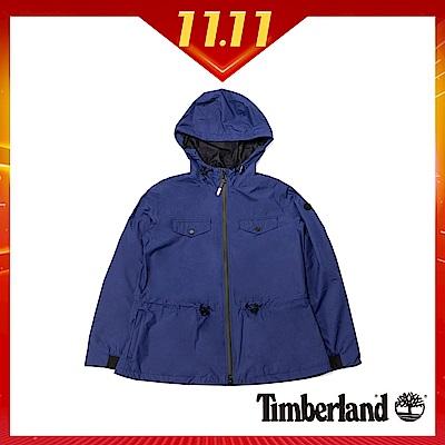 Timberland 女款藍色顯瘦防水連帽派克大衣 B2109