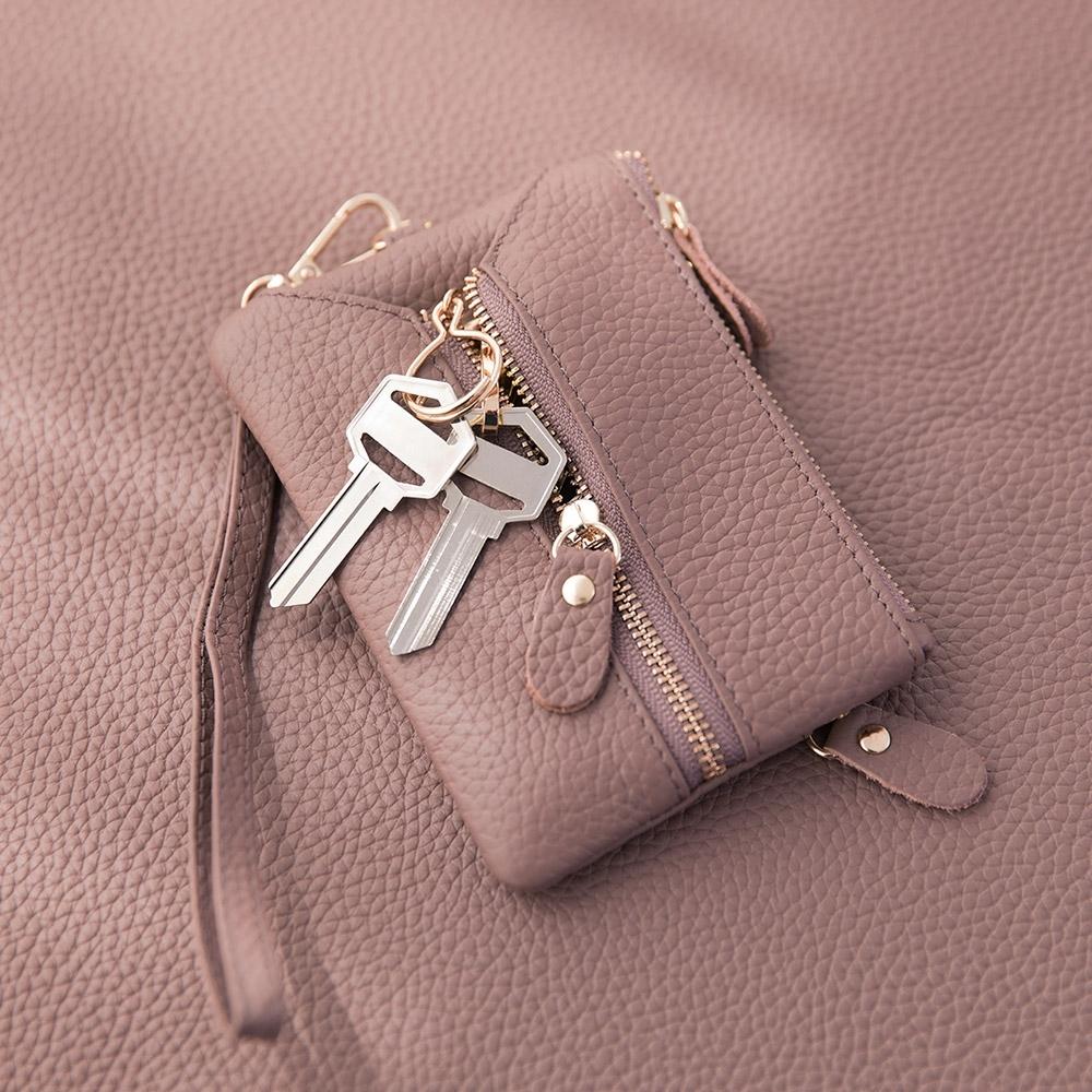 CHENSON真皮 三夾層鑰匙包零錢包(送頸掛繩+手腕帶) 豆沙紫(W00158-U)