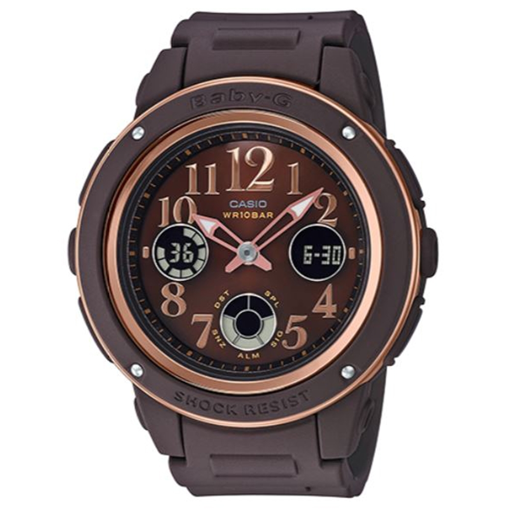 BABY-G 秋意時尚混搭玫瑰金風格運動錶-咖啡(BGA-150PG-5B2)43mm