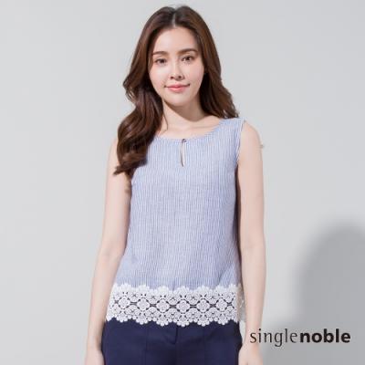 獨身貴族 氣質條紋剪接蕾絲無袖上衣(1色)