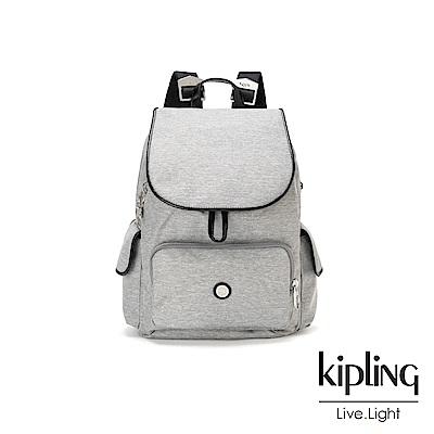 Kipling 簡約主義淺灰織紋拉鍊掀蓋後背包-CITY PACK S