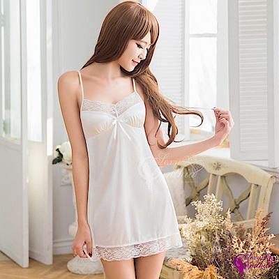 Sexy Cynthia性感睡衣典雅白色蕾絲柔緞睡衣-奶白F