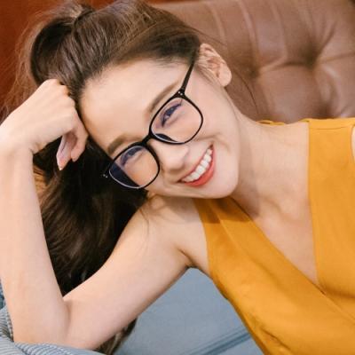 ALEGANT日雜經典百搭款TR90輕量森林黑色方框UV400濾藍光眼鏡