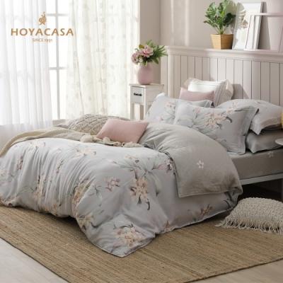 HOYACASA花曲悠揚 加大60支四件式抗菌天絲兩用被床包組