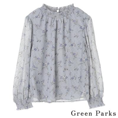 Green Parks 柔軟微透花朵設計上衣