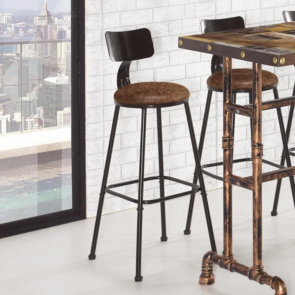 Bernice-凱基皮面工業風吧台椅/高腳椅/單椅-44x49.5x99cm