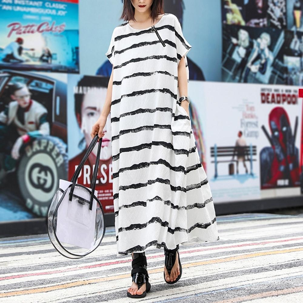 簡約印花短袖橫條印花寬鬆連衣長裙-F-CLORI