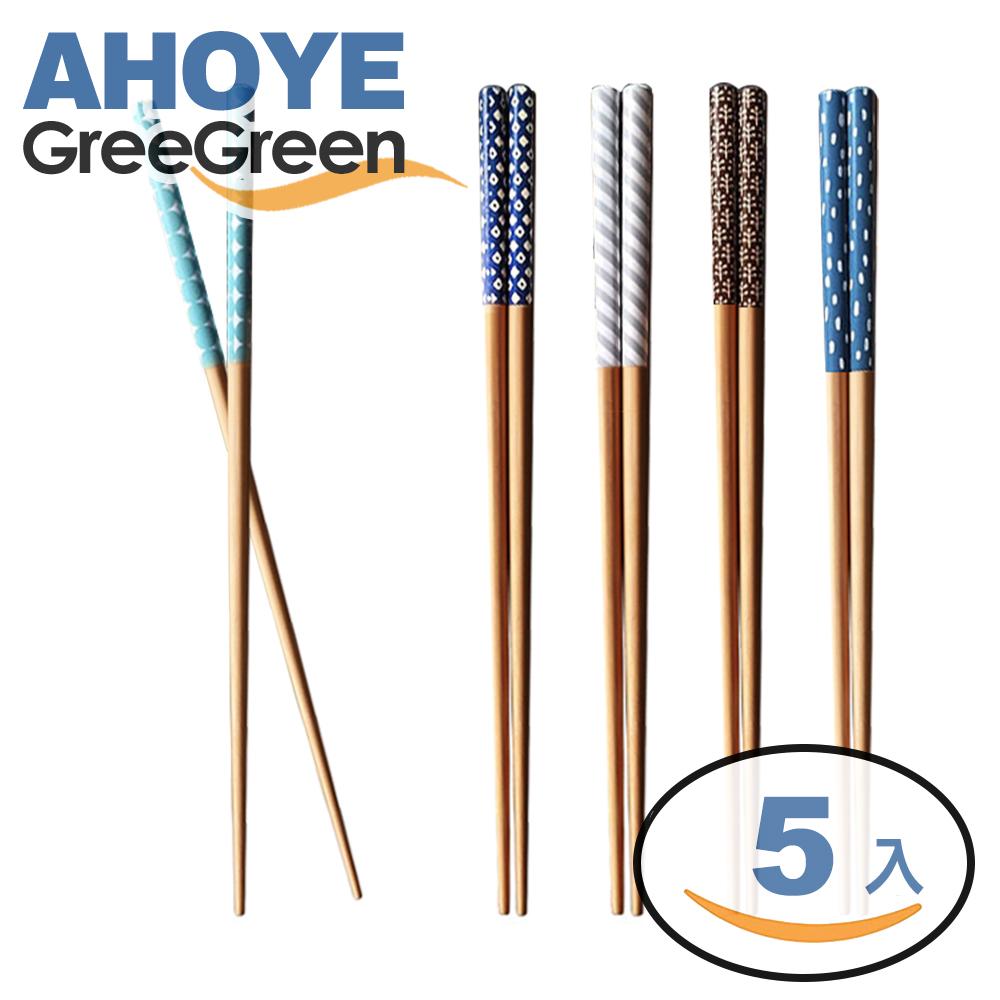 GREEGREEN 幾何圖形木筷 5雙入(快)