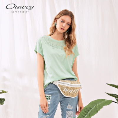 OUWEY歐薇 水溶蕾絲拼接棉質上衣(綠)